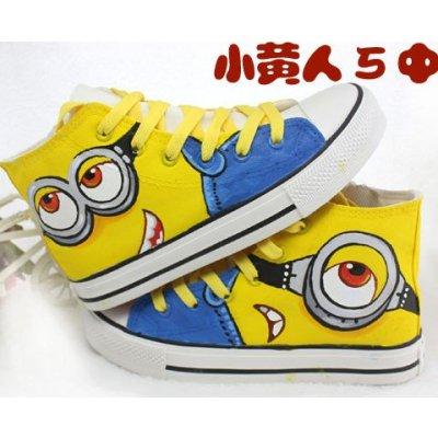 卡通小黄人手绘鞋中帮高帮帆布鞋 女夏秋男童女童学生运动板鞋潮 深