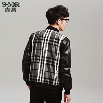 森马格子拼接夹克 2015秋装新款 男士合体立领长袖休闲外套韩版潮图片