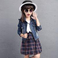 女童牛仔秋装2015新款韩版童装外套儿童女生美甲后的套装图片
