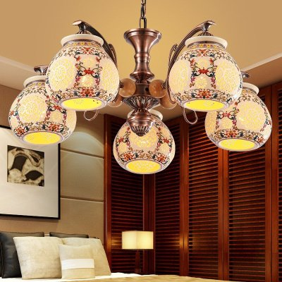 8016】中式吊灯圆形欧式陶瓷客厅餐厅酒店灯具