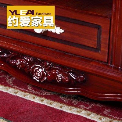 802】大理石茶几古典欧式实木深红色储物功