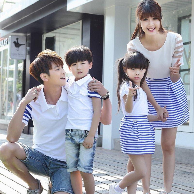 夏装亲子装套装2015款一家三口全家装韩国母子t恤母女裙家庭装潮 女童