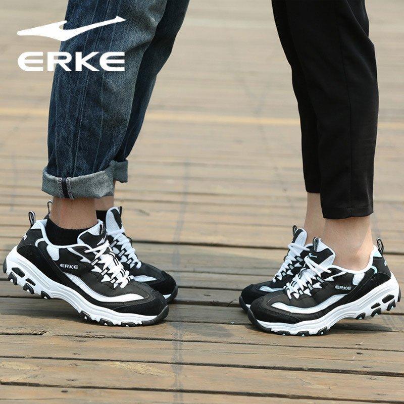 鸿星尔克情侣款运动鞋男女士熊猫鞋时尚复古休闲跑步