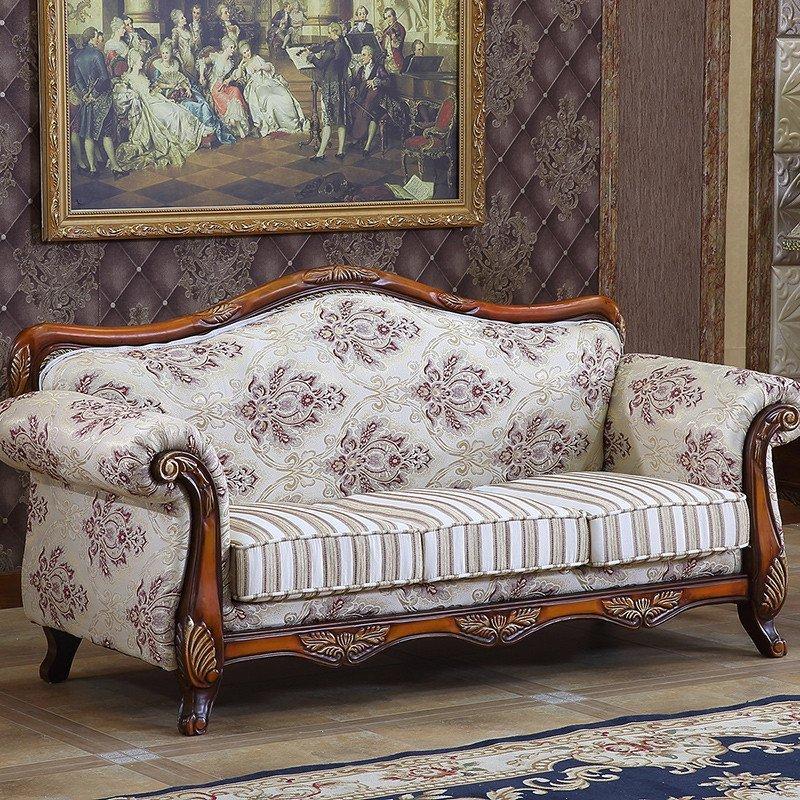 欧式布艺沙发 简约田园组合古典美式实木沙发