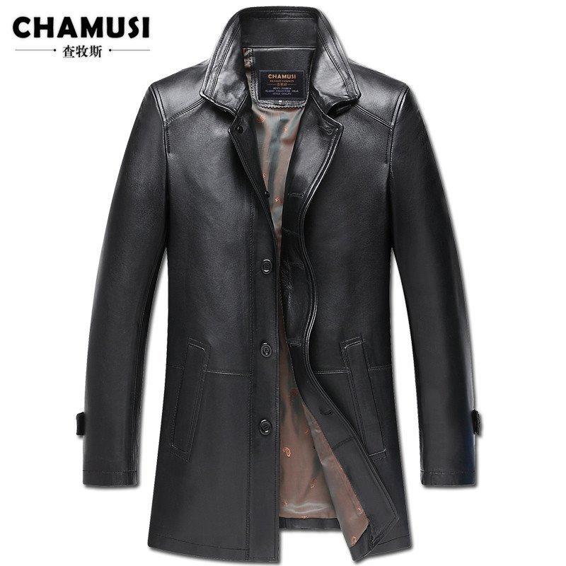 查牧斯 2015秋季新款海寧真皮皮衣夾克男中長款綿羊皮風衣外套修身 xl圖片