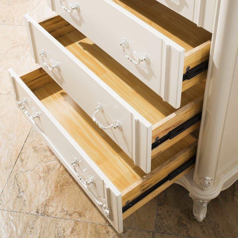 法莉娜欧式三四五斗柜组合 卧室实木白色五斗橱抽屉收纳储物柜b75高清