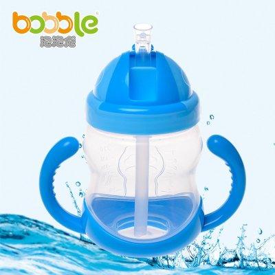 宝宝学饮杯带手柄婴儿吸管杯防漏保温杯儿童水杯幼儿喝水杯 蓝色