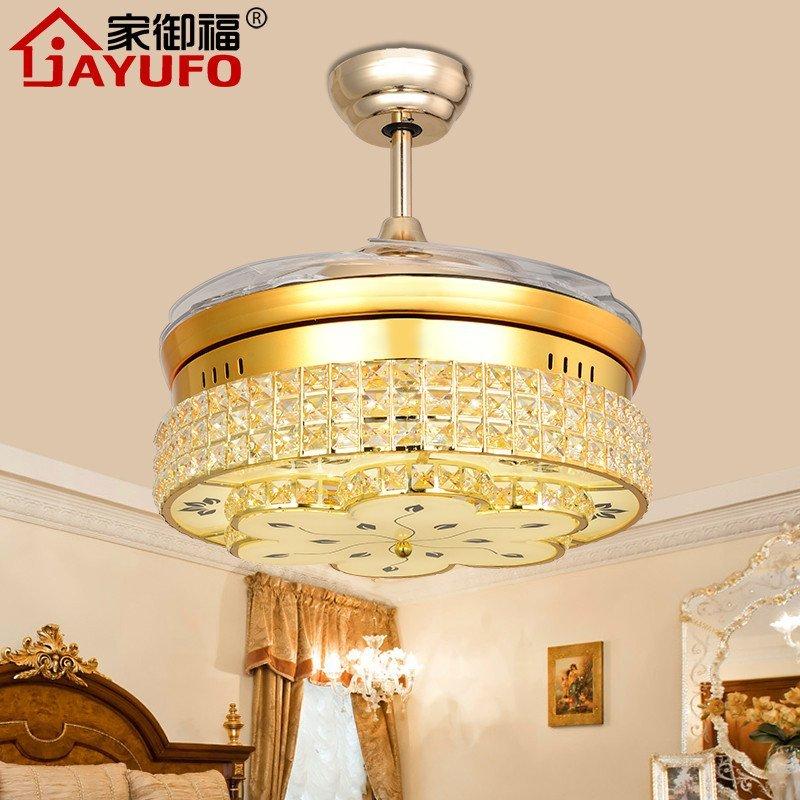家御福 金色隐形扇吊扇灯水晶收缩扇led遥控智能吊灯欧式现代简约餐厅