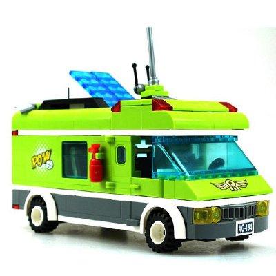 启蒙1120益智旅行车玩具游行记拼装儿童积木拼插房车模型玩具