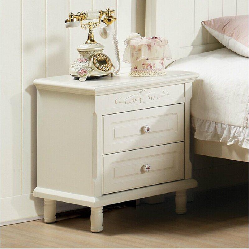 床头柜 选择欧式卧室简约田园白色小储物柜a104-5 822款60*40*60厘米