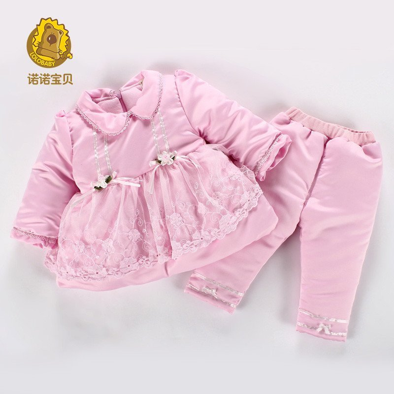 诺诺宝贝童装冬款女宝宝套装加棉保暖棉服婴儿衣服一周岁1-2-3岁 粉