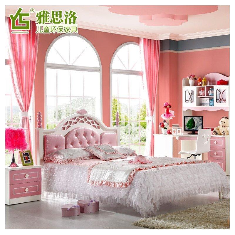 2 1.5米单人小孩床实木床青少年床欧式儿童房家具组合
