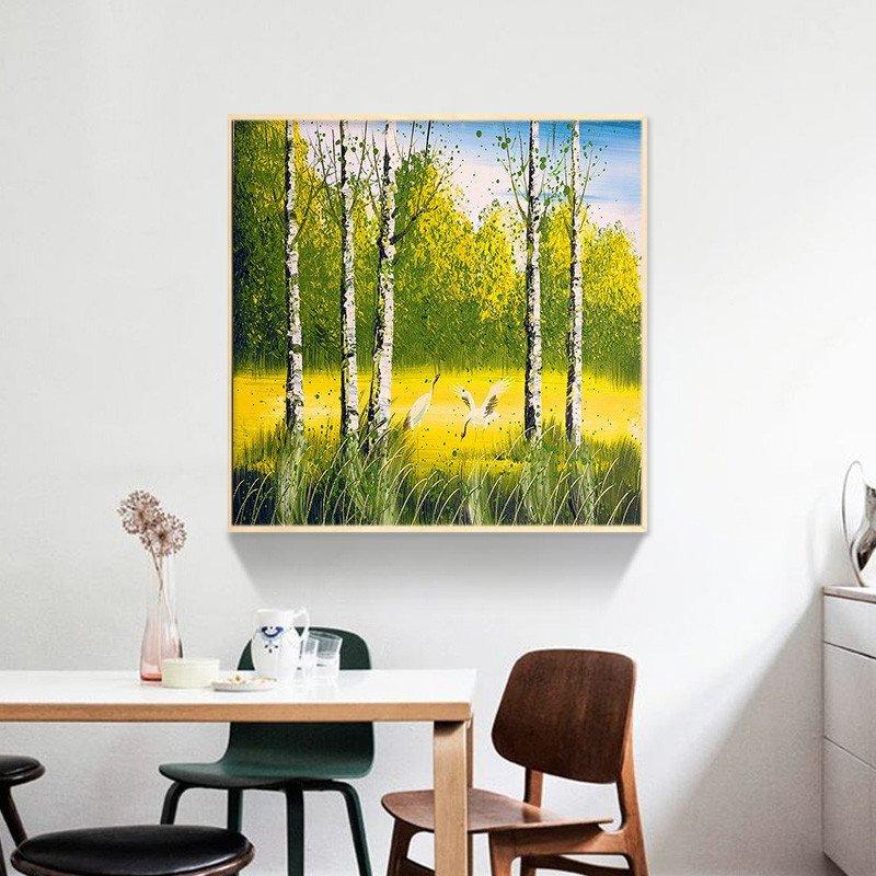 simen 实木有框画 两联风景画白桦林之春和秋 田园风格餐厅墙面装饰画