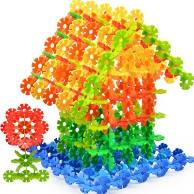 芙蓉天使 立体拼图加厚雪花片塑料拼插积木10色超大号儿童建造拼装