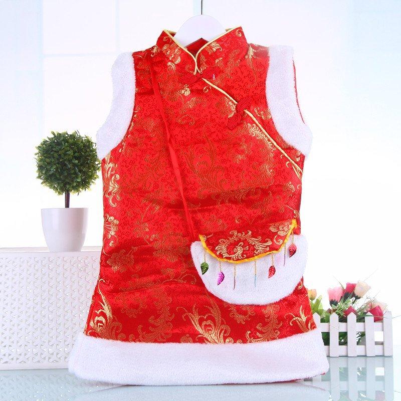 】儿童旗袍新年款冬季女童唐装演出礼服婴儿
