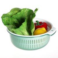 兴双层洗菜的塑料金属双层果盘正品滴水篮滤g5309w篮子壳图片