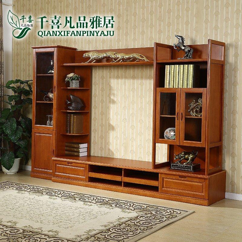 千喜凡品雅居 新中式实木电视柜组合茶几客厅墙地柜简约电视机柜 ysg0