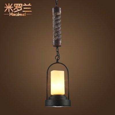 乡村灯具 创意工业风吧台单头吊灯欧式麻绳烛台吊灯