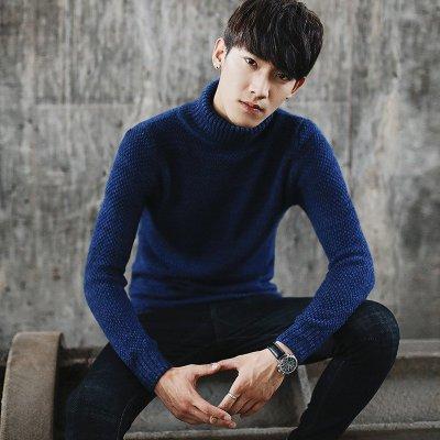 韩版冬新款加厚高领毛衣男青年针织衫 男士外套线衣男
