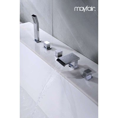 全铜瀑布式出水五件套分体式浴缸带淋浴花洒水龙头 嵌入式安装图片