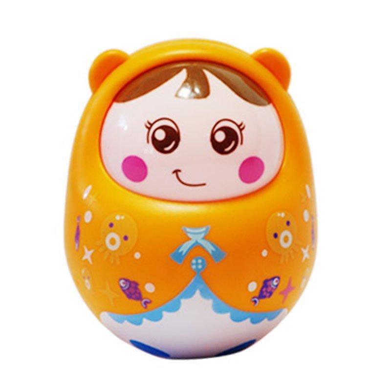 重乐 不倒翁婴儿幼儿小娃娃 宝宝玩具 0-1岁 3-6-9-12个月益智玩具 橘