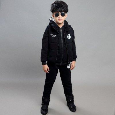 乐兜熊 童装男童秋冬三件套装2015新品大白卡通儿童卫衣套装加厚加绒