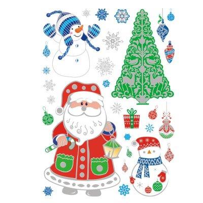 圣诞橱窗贴纸圣诞装饰品墙贴画双面橱窗玻璃鹿铃铛雪花玻璃门贴 款式4