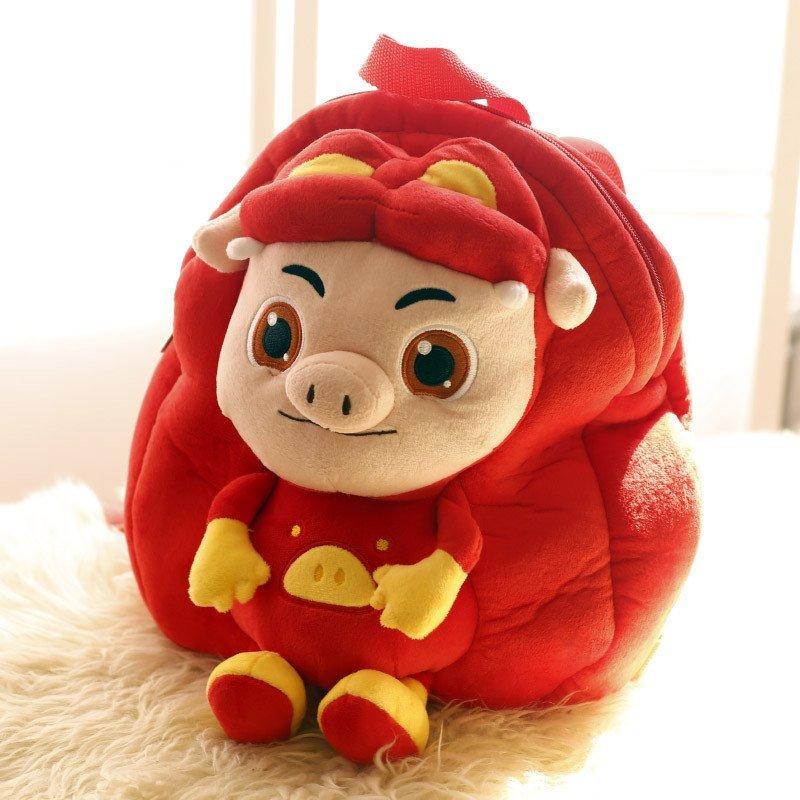 【情侣船系列】猪猪侠可爱头像毛绒双肩表情宝宝书包搞笑橘太阳包猫图片