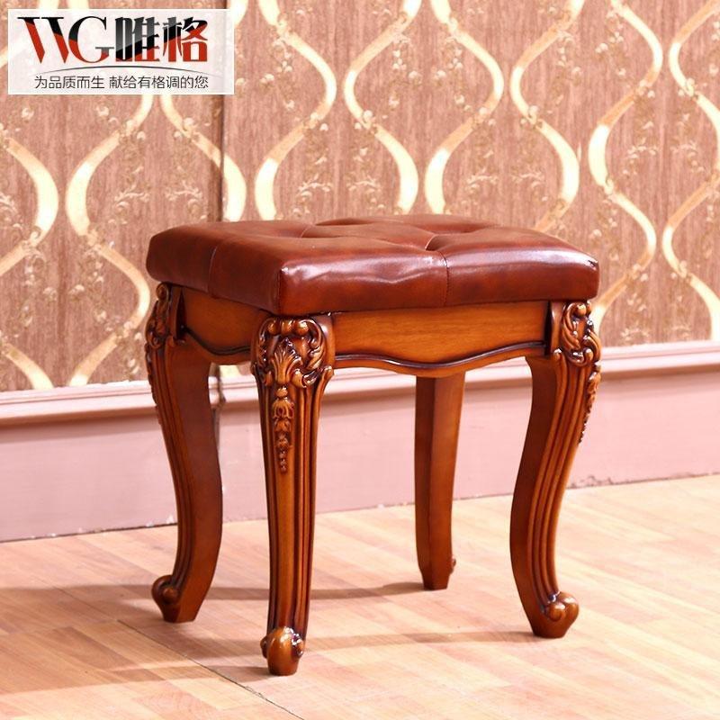 vvg欧式梳妆台 美式实木化妆台法式小户型田园乡村深色妆凳穿衣镜
