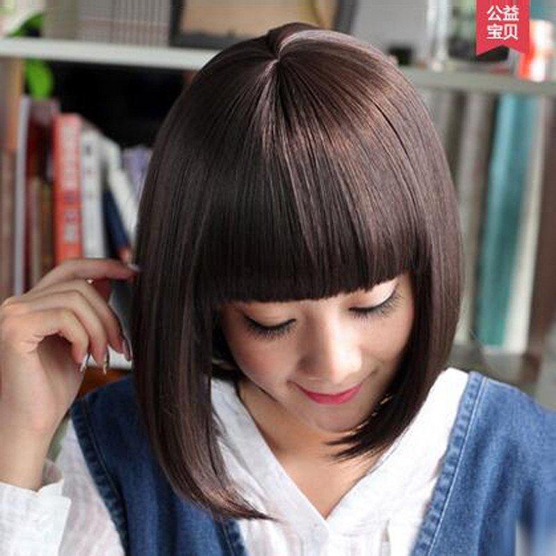 宫秀假发女士齐刘海短发波波头 短卷直发梨花头 逼真女短卷发发型 浅