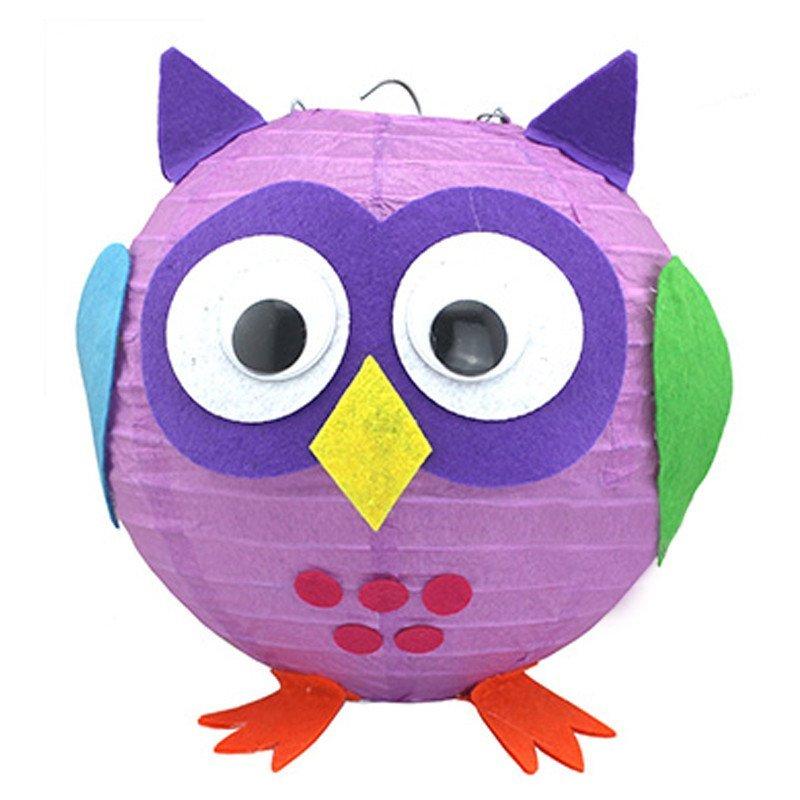 孩派 可爱卡通diy灯笼 儿童生日 灯笼装饰 布置装饰 发光灯笼 猫头鹰