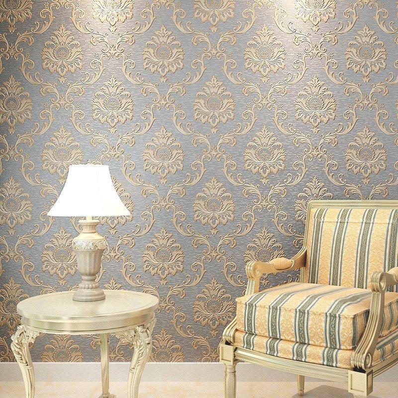 本木壁纸 高档欧式大马士革墙纸 卧室客厅电视背景墙影视墙无纺布图片