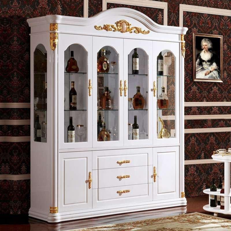 欧式酒柜 简约现代隔断柜组合吧台实木多功能创意半圆酒柜 a款欧式