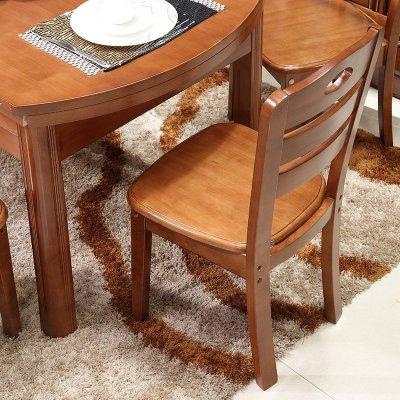 忆斧至家 实木餐桌 餐桌椅组合 椭圆形折叠伸缩拉伸多功能餐桌 小户型