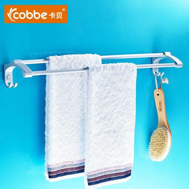 卡贝太空铝毛巾杆双杆卫浴五金挂件 卡贝(cob