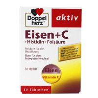 德国Doppelherz双心铁片含维C不便秘EISEN+