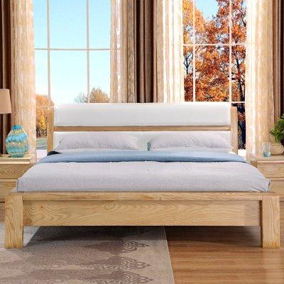 艾乐迪 实木床 白蜡木简约现代原木色 北欧软包双人床
