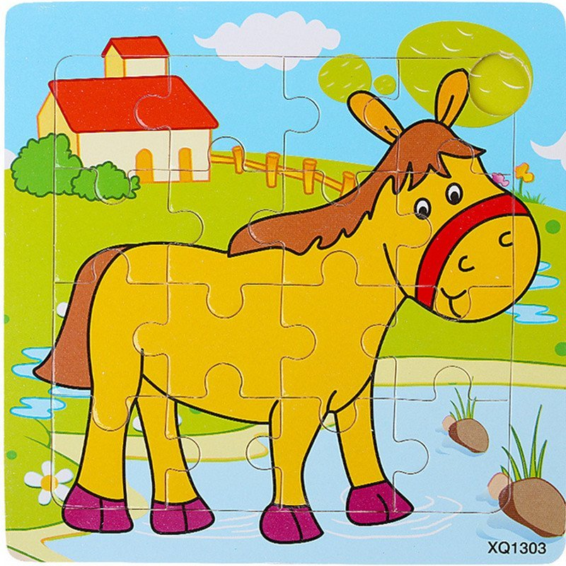 16片平面木制拼图拼板马卡通动物 儿童益智玩具小皇帝0.图片