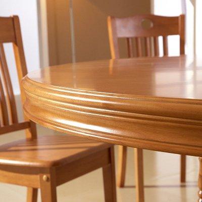 和谐j佳缘现代现代中式实木圆餐桌 橡木圆形餐桌椅组合带转盘木质 1.