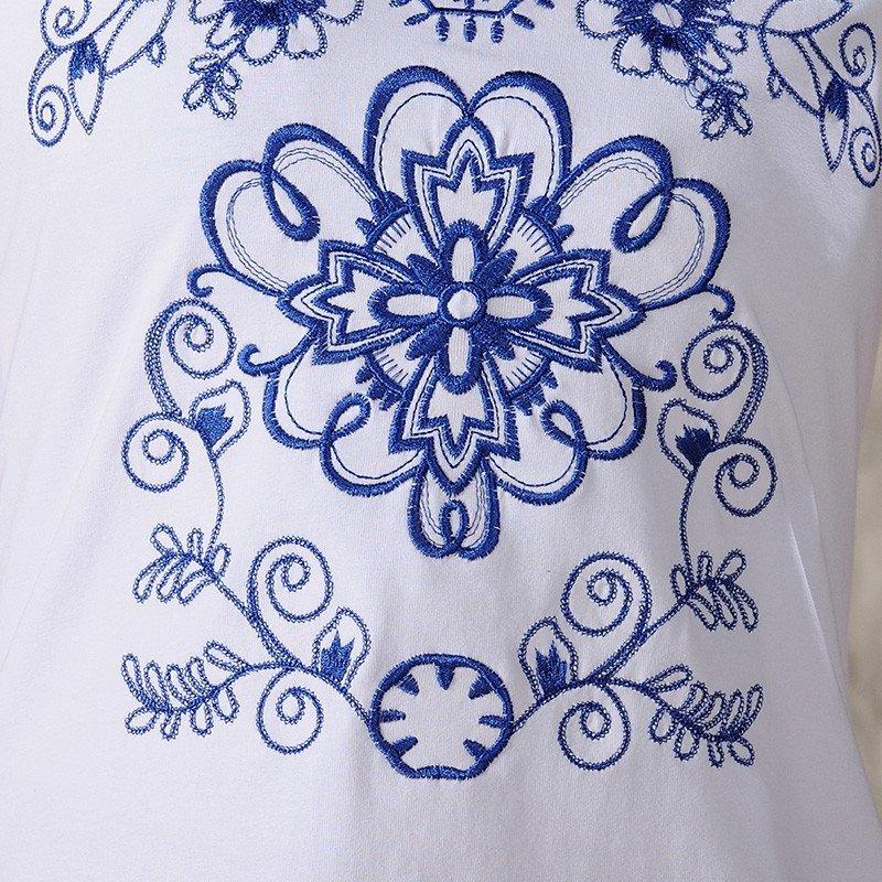 羊致2016女装春夏新款民族风青花瓷绣花短袖t恤 m 白色高清实拍图