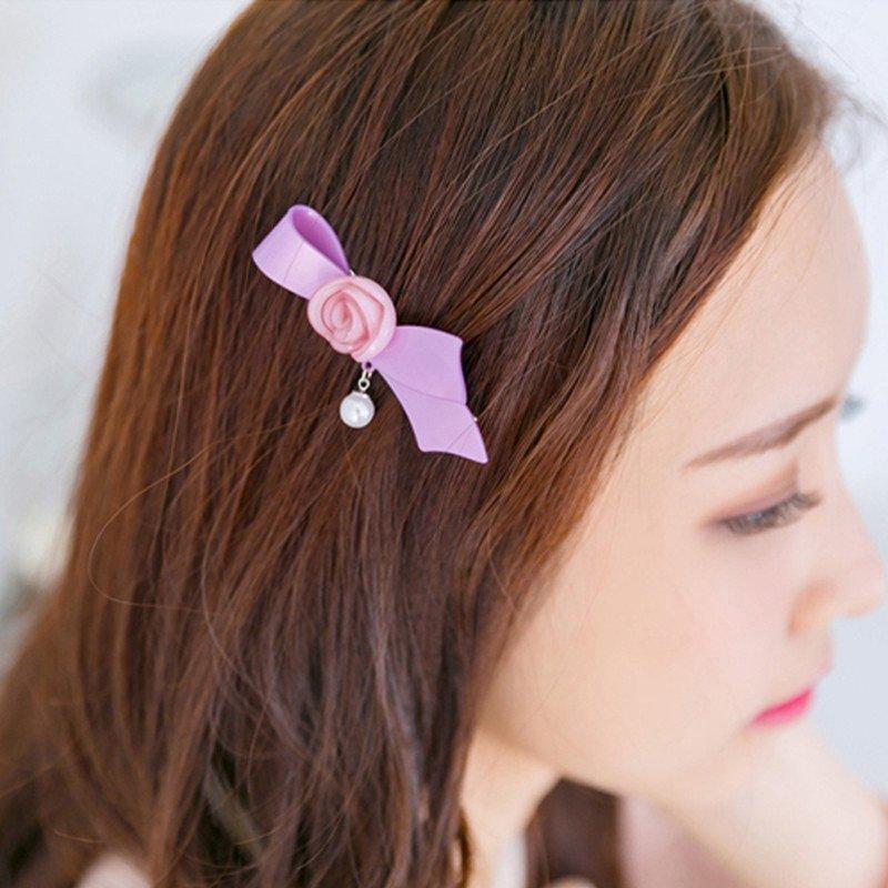 美丽公主蝴蝶结刘海夹边夹发夹鸭嘴夹 玫瑰花朵造型发饰头饰品一字夹图片
