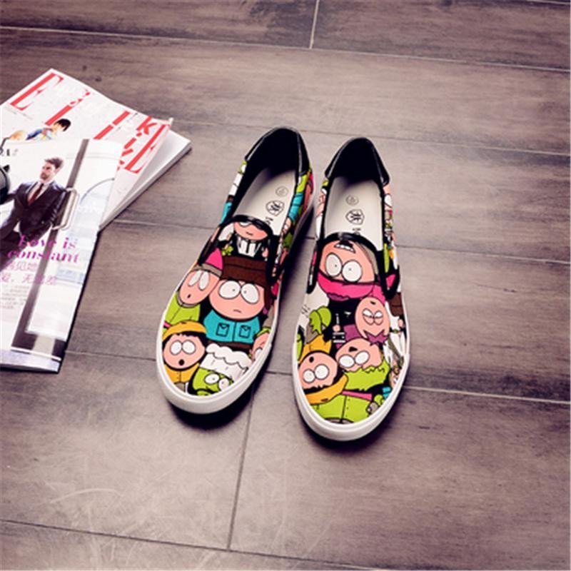 kc 新款春季帆布鞋懒人鞋男士休闲低帮板鞋轻质布鞋韩版男鞋涂鸦鞋子