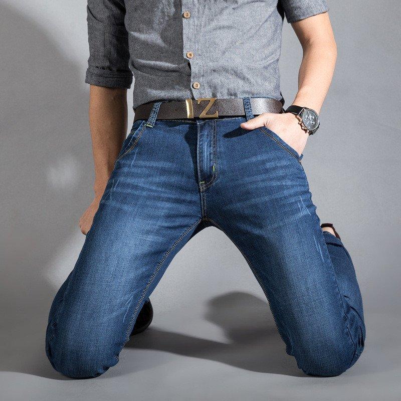 青少年潮男男装_韩恤 韩恤 春季男士牛仔裤潮男修身直筒休闲牛子长裤青少年韩版大码男