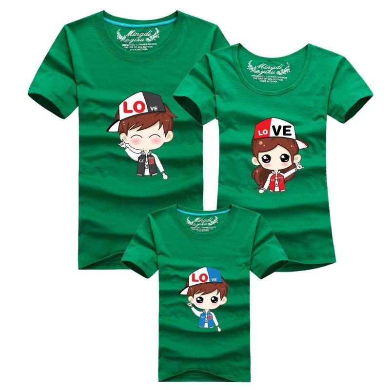 明地一族 亲子t恤 夏季棉质休闲圆领短袖体恤衫 卡通图案家庭装t恤图片