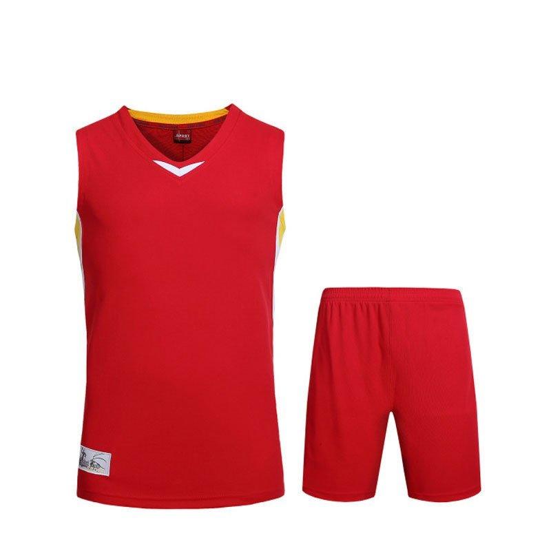 篮球服男运动套装 团购定制球衣 印号logo 女3xl《身高165-170 红色图片