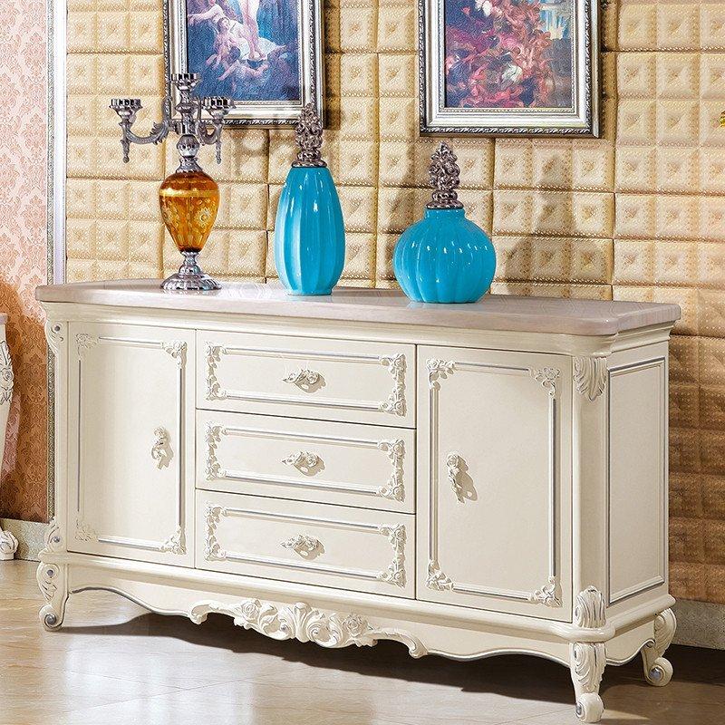 紫茉莉 欧式天然大理石餐边柜实木雕花餐柜玄关酒柜茶水柜厨柜碗柜储