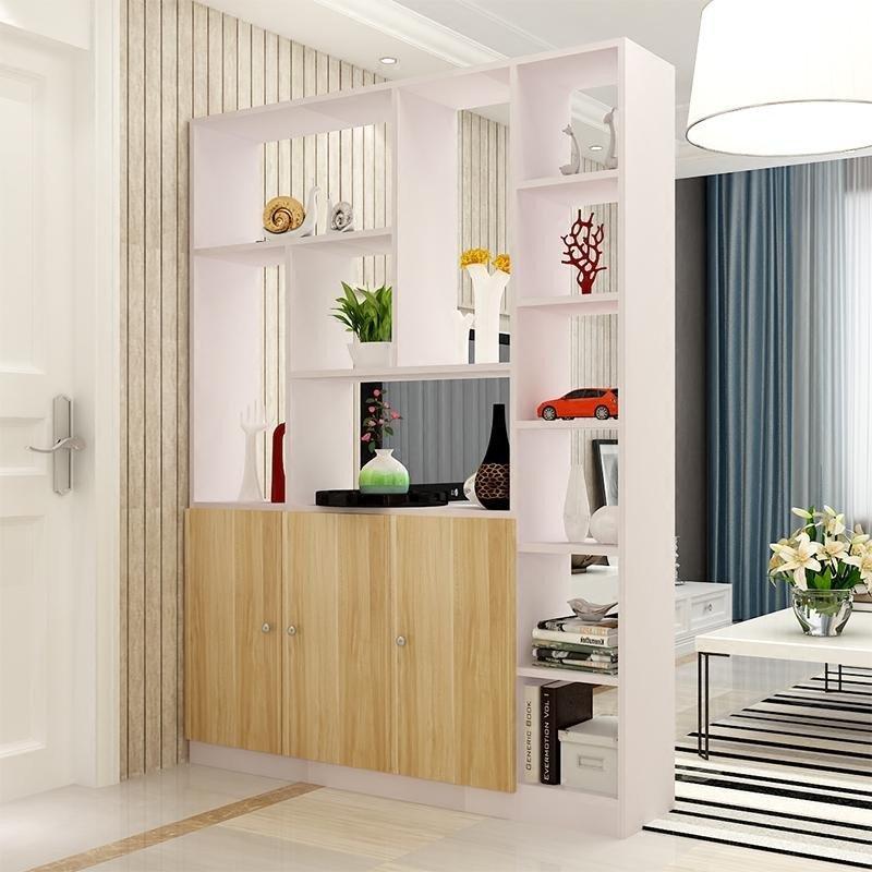 物古董架木质隔断柜屏风客厅展示柜客厅装饰柜 双开门白色框配柚木色