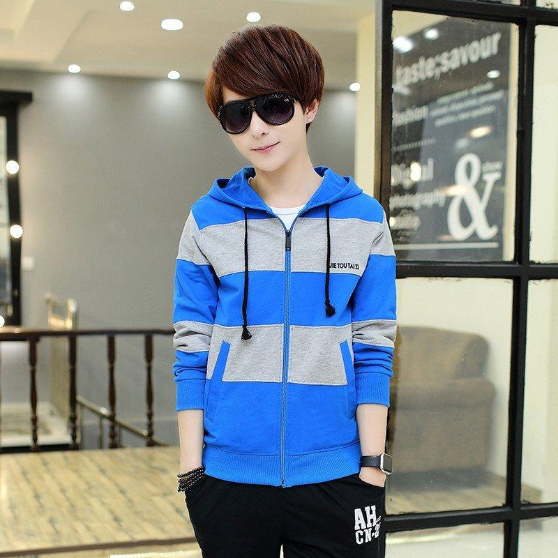 费洛仕 14春季15青少年16连帽17韩版13岁男孩中学生印花卫衣外套衣服图片