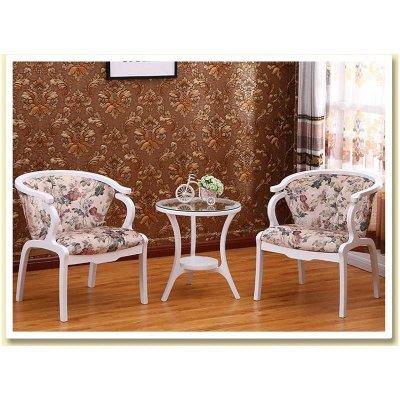 赛森实木阳台桌椅圈椅三件套件布艺洽谈沙发椅欧式围