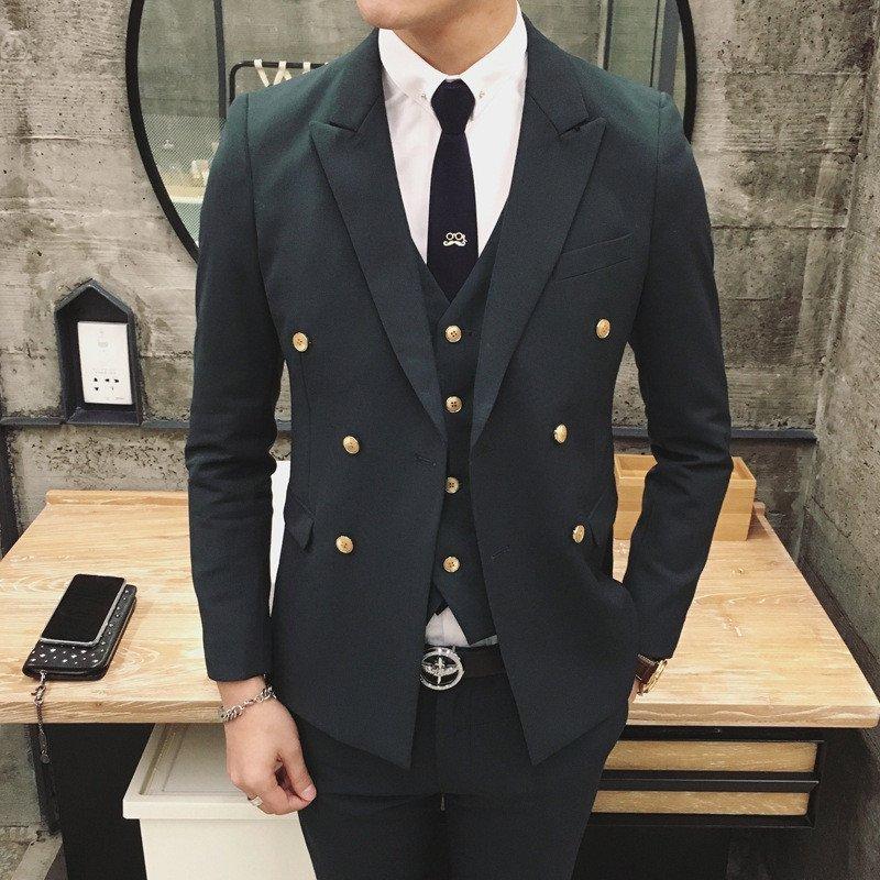2016春装新款 韩版男装休闲双排扣西装 男修身糖果西服男士潮款 l 桔